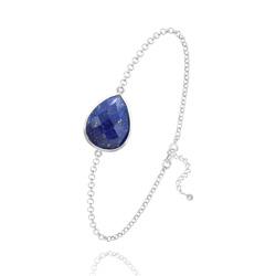 Bracelet Goutte à Facettes 17MM en Argent et Pierres Naturelles - Lapis Lazuli