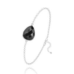 Bracelet Goutte à Facettes 17MM en Argent et Pierres Naturelles - Onyx