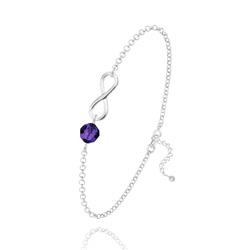 Bracelet Infini en Argent et Cristal Purple Velvet