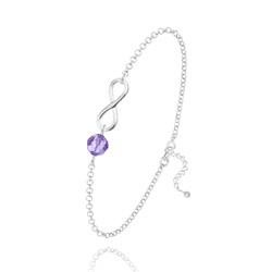 Bracelet Infini en Argent et Cristal Tanzanite