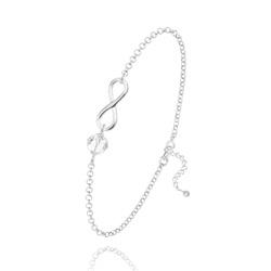 Bracelet Infini en Argent et Cristal Blanc
