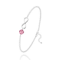 Bracelet Infini en Argent et Cristal Light Rose
