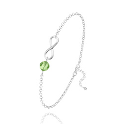 Bracelet Infini en Argent et Cristal Vert Péridot