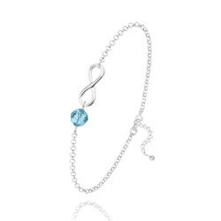 Bracelet Infini en Argent et Cristal Bleu Aquamarine