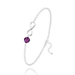 Bracelet Infini en Argent et Cristal Améthyste
