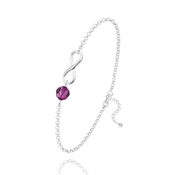 Bracelet Infini en Argent et Cristal Fuchsia