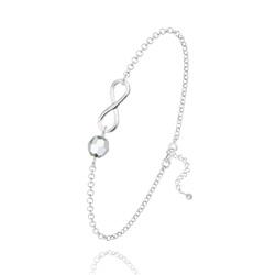 Bracelet Infini en Argent et Cristal Argenté