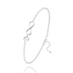 Bracelet Infini en Argent et Cristal Aurore Boréale