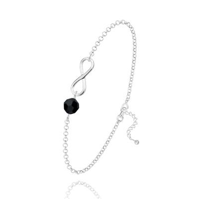 Bracelet en Cristal et Argent Bracelet Infini en Argent et Cristal Jet (Noir)