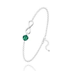 Bracelet Infini en Argent et Cristal Émeraude