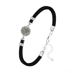 Bracelet Disco Ball 10mm en Argent et Cristal Black Diamond