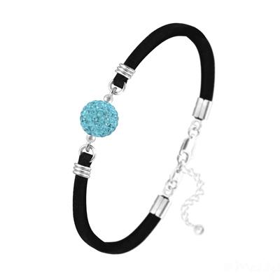 Bracelet en Cristal et Argent Bracelet Disco Ball 10mm en Argent et Cristal Aquamarine