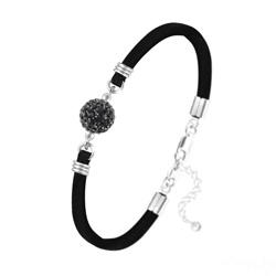 Bracelet Disco Ball 10mm en Argent et Cristal Jet (Noir)