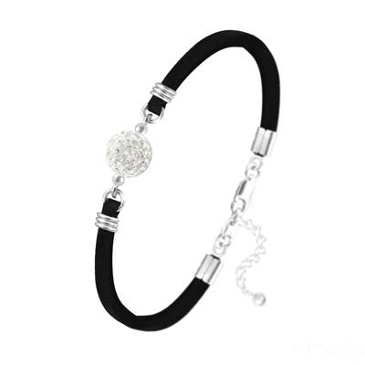 Bracelet en Cristal et Argent Bracelet Disco Ball 10mm en Argent et Cristal Blanc
