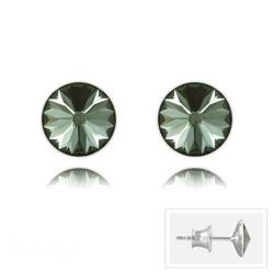 Clous d'Oreilles Rivoli 6MM V2 en Argent et Cristal Black Diamond