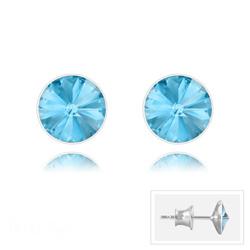 Clous d'Oreilles Rivoli 6MM V2 en Argent et Cristal Bleu Aquamarine