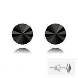 Clous d'Oreilles Rivoli 6MM V2 en Argent et Cristal Jet (Noir)