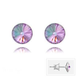 Clous d'Oreilles Rivoli 6MM V2 en Argent et Cristal Vitrail Light