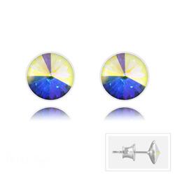 Clous d'Oreilles Rivoli 6MM V2 en Argent et Cristal Aurore Boréale