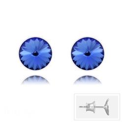 Clous d'Oreilles Rivoli 6MM V2 en Argent et Cristal Bleu Saphir
