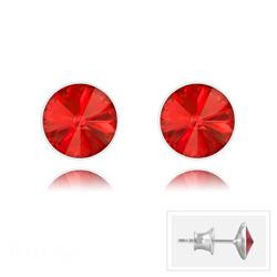 Clous d'Oreilles Rivoli 6MM V2 en Argent et Cristal Rouge Light Siam