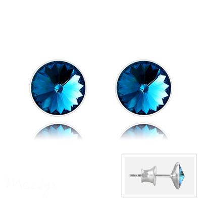 Clous d'Oreilles en Cristal et Argent Clous d'Oreilles Rivoli 6MM V2 en Argent et Cristal Bleu Bermude