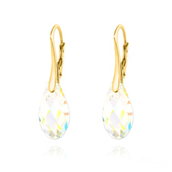 Boucles d'Oreilles en Cristal et Argent Boucles d'Oreilles Briolette 17MM en Argent Plaqué Or et Cristal Aurore Boréale