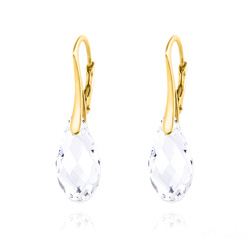 Boucles d'Oreilles Briolette 17MM en Argent Plaqué Or et Cristal Blanc