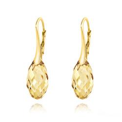 Boucles d'Oreilles en Cristal et Argent Boucles d'Oreilles Briolette 17MM en Argent Plaqué Or et Cristal Champagne