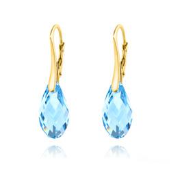 Boucles d'Oreilles Briolette 17MM en Argent Plaqué Or et Cristal Bleu Aquamarine