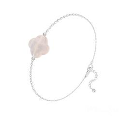 Bracelet Trèfle à 4 Feuilles en Argent et Pierres Naturelles - Quartz Rose