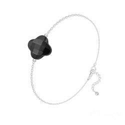 Bracelet Trèfle à 4 Feuilles en Argent et Pierres Naturelles - Onyx
