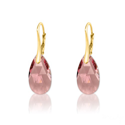 Boucles d'Oreilles en Cristal et Argent Boucles d'Oreilles Goutte 16MM en Argent Plaqué Or et Cristal Light Rose