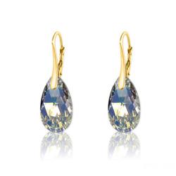 Boucles d'Oreilles Goutte 16MM en Argent Plaqué Or et Cristal Aurore Boréale