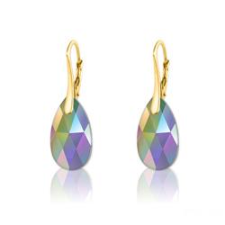 Boucles d'Oreilles en Cristal et Argent Boucles d'Oreilles Goutte 16MM en Argent Plaqué Or et Cristal Paradise Shine