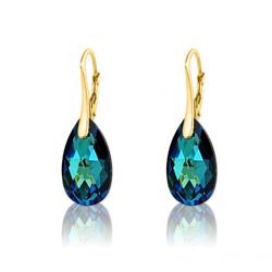 Boucles d'Oreilles Goutte 16MM en Argent Plaqué Or et Cristal Bleu Bermude