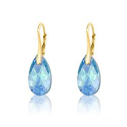 Boucles d'Oreilles Goutte 16MM en Argent Plaqué Or et Cristal Bleu Aquamarine AB