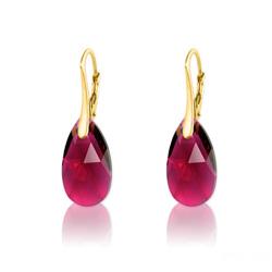 Boucles d'Oreilles en Cristal et Argent Boucles d'Oreilles Goutte 16MM en Argent Plaqué Or et Cristal Ruby