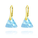 Wholesale Triangle 16mm Yellow Gold Plated Silver Earrings with Swarovski Crystal - Aquamarine
