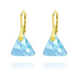 Boucles d'Oreilles Triangle 16MM en Argent Plaqué Or et Cristal Bleu