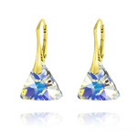 Wholesale Triangle 16mm Yellow Gold Plated Silver Earrings with Swarovski Crystal - White AB
