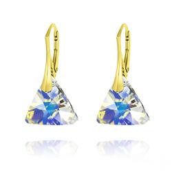 Boucles d'Oreilles Triangle 16MM en Argent Plaqué Or et Cristal Aurore Boréale