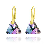 Wholesale Triangle 16mm Yellow Gold Plated Silver Earrings with Swarovski Crystal - Vitrail Light