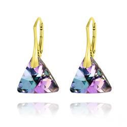 Boucles d'Oreilles Triangle 16MM en Argent Plaqué Or et Cristal Vitrail Light
