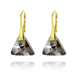 Boucles d'Oreilles Triangle 16MM en Argent Plaqué Or et Cristal Silver Night
