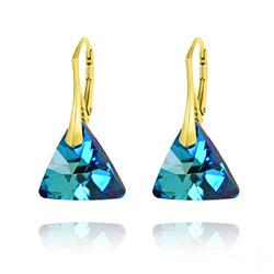 Boucles d'Oreilles Triangle 16MM en Argent Plaqué Or et Cristal Bleu Bermude