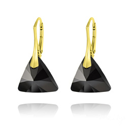 Wholesale Triangle 16mm Yellow Gold Plated Silver Earrings with Swarovski ...