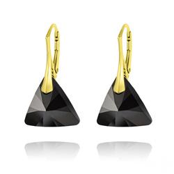 Boucles d'Oreilles Triangle 16MM en Argent Plaqué Or et Cristal Jet (Noir)