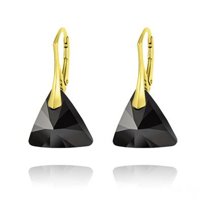 Boucles d'Oreilles en Cristal et Argent Boucles d'Oreilles Triangle 16MM en Argent Plaqué Or et Cristal Jet (Noir)