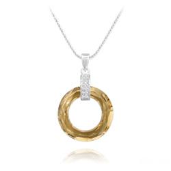 Collier Cosmic Ring en Argent Rhodié et Cristal Champagne